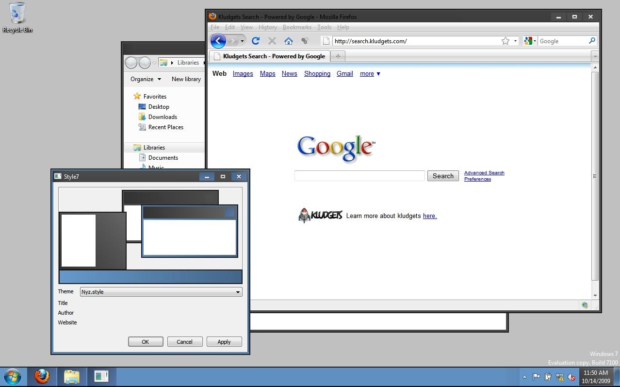 style7 custom window 7 themes kludget widget engine